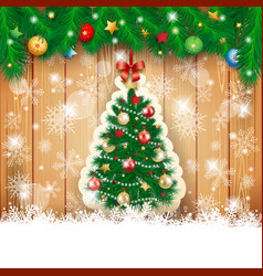 christmas background with fir and tree vector image