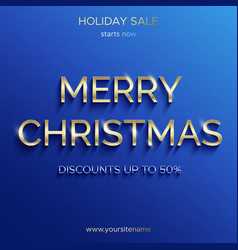 christmas sale up to 50 percent blue banner vector image