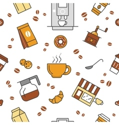 Coffee Time Line Art Thin Seamless Pattern vector image