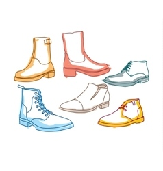 Colored line art boots with shading vector image