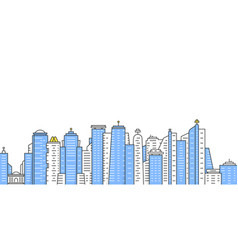 Colored thin line city panoramic view vector