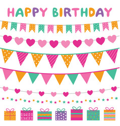 colorful birthday party banners set vector image