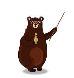 Cute cartoon bear teacher in glasses and tie vector