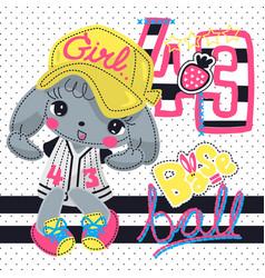 Cute rabbit baseball girl cartoon character vector