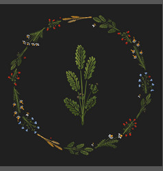 dark stylized colorful wreath with icon vector image