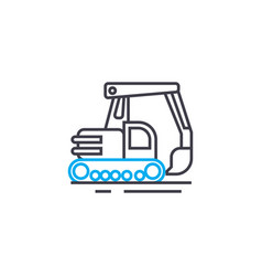 Digging machinery linear icon concept digging vector