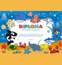 Diploma certificate cartoon underwater world vector