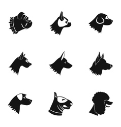Doggy icons set simple style vector