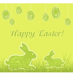 easter eggs rabbits vector image