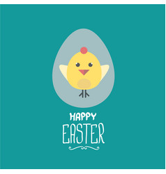 easter greeting card with cartoon chicken vector image