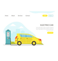 electric car landing page hybrid vehicle at vector image