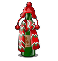 Empty bottle green glass decorated with red vector