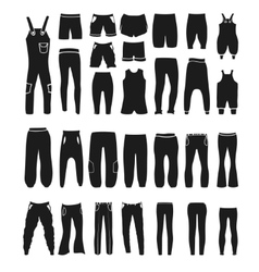 Fashion icons and items of pants silhouettes vector