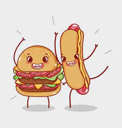 fast food cute tasty burger and hot dog cartoon vector image