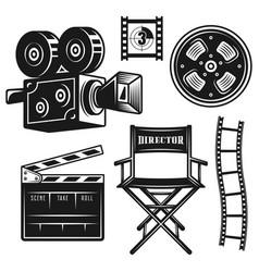 filmmaker director equipment objects set vector image