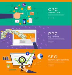 Flat design concept pay per click ppc cost per vector