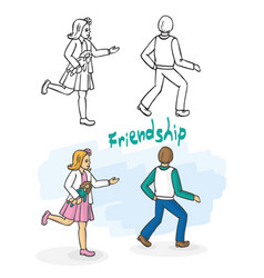 friends girl and boy play catch up vector image