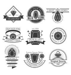 Gemstones Black White Emblems Set vector