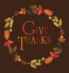 give thanks wreath vector image