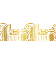 Gold foil border seamless abstract doodle shapes vector