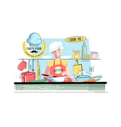 grandmother cooking food vector image