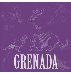 Grenada national symbols Antillean Armadillo vector