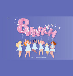 happy 8 march womens day paper cut card vector image