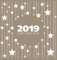 Happy new year beige and white stars greeting card vector