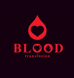 Heart shape blood transfusion concept charity and vector
