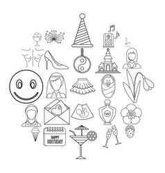High spirits icons set outline style vector