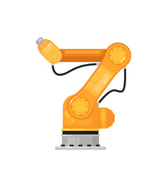 Industrial robot arm isolated yellow robotic arm vector