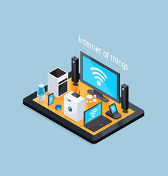 internet of things isometric poster vector image