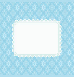 invitation card on blue damask background vector image