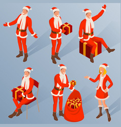 isometric characters young santa vector image