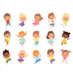 jumping kids happy funny children playing and vector image