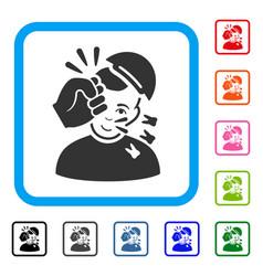 Kickboxer framed happy icon vector