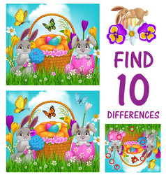 Kids game find ten differences with easter eggs vector