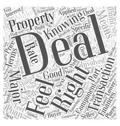 Knowing When You Have the Deal Word Cloud Concept vector image