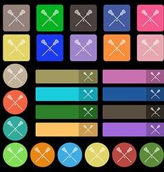 Lacrosse Sticks crossed icon sign Set from twenty vector
