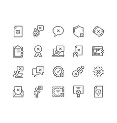 line reject icons vector image
