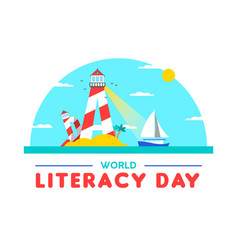 Literacy day card concept for people education vector
