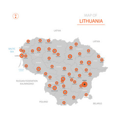 Lithuania map with administrative divisions vector