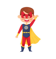 Little boy in superhero costume and mask with cat vector
