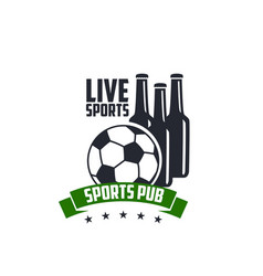 live soccer sports beer pub icon vector image