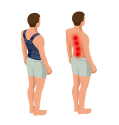Lower back pain or spine pain osteoporosis vector