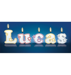 LUCAS written with burning candles vector image