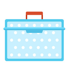 Lunch box plastic icon flat style vector