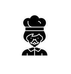male cook black icon sign on isolated vector image