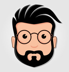 man cartoon face with glasses vector image
