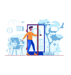 man coming out cellphone door vector image